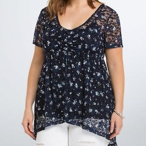 { Torrid } Floral Lace Babydoll Top